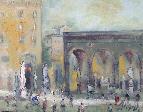 Art work by Emanuele Cappello Piazza Signoria,Firenze - oil canvas